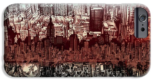 Empire State iPhone Cases - Nyc Tribute Skyline 3 iPhone Case by MB Art factory