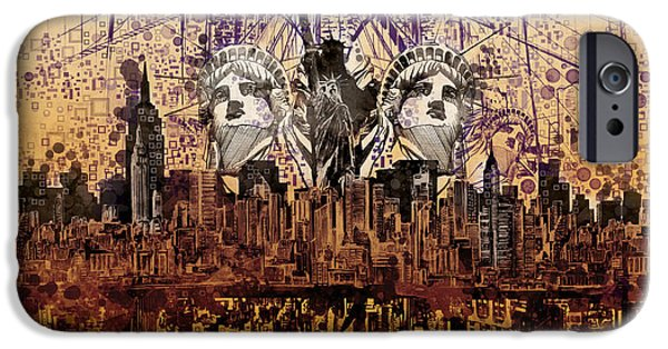 Empire State iPhone Cases - Nyc Tribute Skyline 6 iPhone Case by MB Art factory