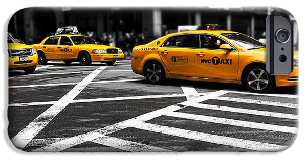 Colorkey iPhone Cases - NYC  Yellow Cab - ckI iPhone Case by Hannes Cmarits