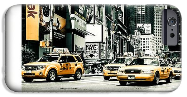 Colorkey iPhone Cases - NYC Yellow Cabs and Lady Liberty -  ck1 iPhone Case by Hannes Cmarits