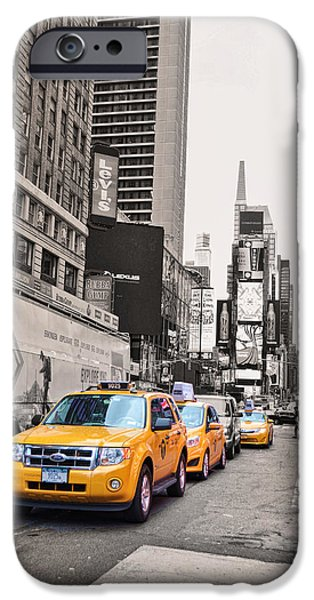 Asphalt Digital iPhone Cases - NYC Yellow Cabs iPhone Case by Paulette B Wright