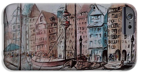 Tall Ship Mixed Media iPhone Cases - Enchanting Nyhavn iPhone Case by Csilla Florida