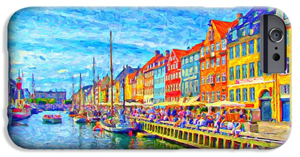 Facade Digital iPhone Cases - Nyhavn in Denmark painting iPhone Case by Antony McAulay