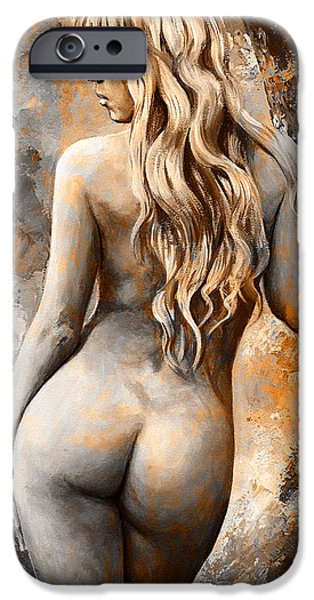 Figures iPhone Cases - Nymph 02 - digital colored Rust iPhone Case by Emerico Imre Toth