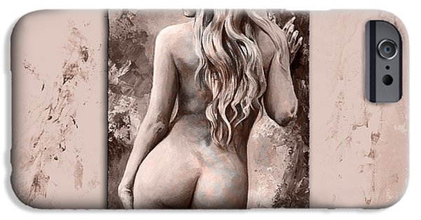 Nudes Digital Art iPhone Cases - Nymph 02 - Style MistyRose iPhone Case by Emerico Imre Toth