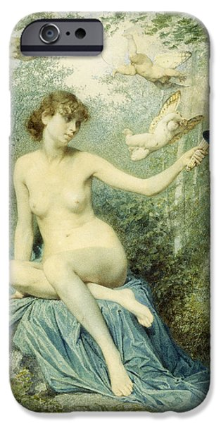Angel Blues iPhone Cases - Nymph driving Love away with a Torch iPhone Case by Victor Florence Pollet
