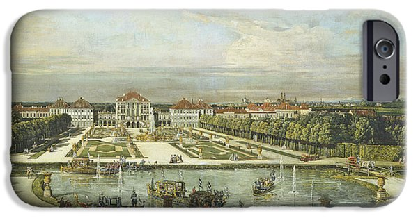 Formal iPhone Cases - Nymphenburg Palace, Munich, C.1761 Oil On Canvas iPhone Case by Bernardo Bellotto