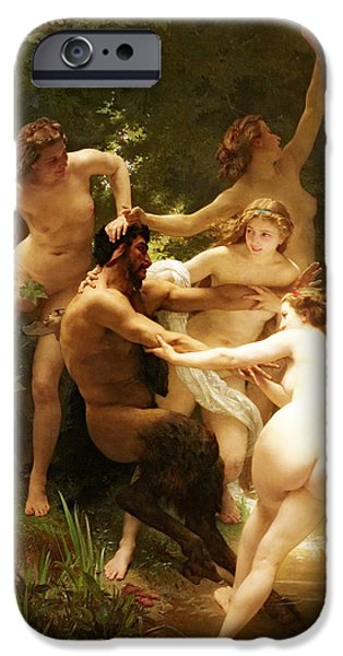 Recently Sold -  - Field. Cloud iPhone Cases - Nymphs and Satyr iPhone Case by William-Adolphe Bouguereau