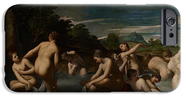 Lesbian Paintings iPhone Cases - Nymphs at the Bath iPhone Case by Ippolito Scarsella