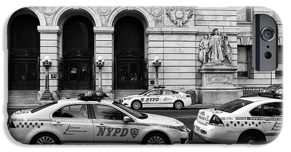 Police Art iPhone Cases - NYPD Cars mono iPhone Case by John Rizzuto