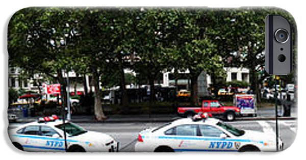 Lincoln iPhone Cases - NYPD Cop cars in front of Lincoln Center iPhone Case by Nishanth Gopinathan