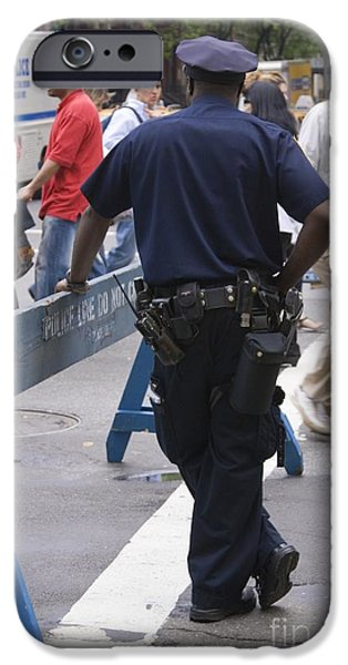 Police Officer iPhone Cases - Nypd Officer Leaning On Barrier iPhone Case by Mark Williamson