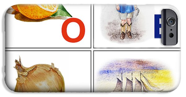 Alphabet iPhone Cases - O BOY Art Alphabet for Kids Room iPhone Case by Irina Sztukowski