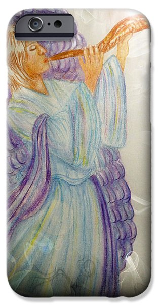 Night Angel Drawings iPhone Cases - O Holy Night iPhone Case by Music of the Heart