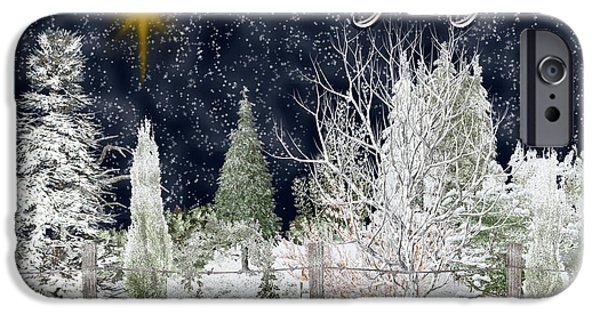 Snowy Night Mixed Media iPhone Cases - O Holy Night iPhone Case by Vickie Emms