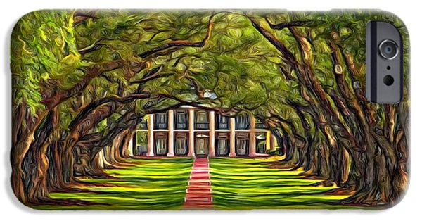 Oak Alley Plantation iPhone Cases - Oak Alley - Paint 2 iPhone Case by Steve Harrington