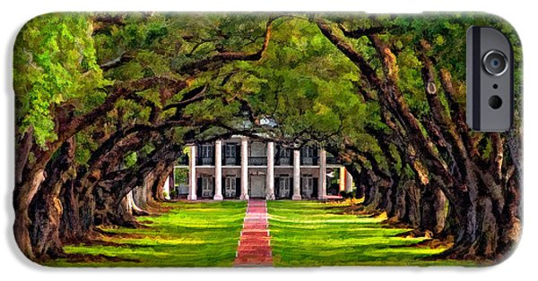 Oak Alley Plantation iPhone Cases - Oak Alley paint version iPhone Case by Steve Harrington