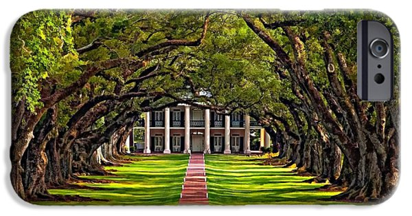 Mansion iPhone Cases - Oak Alley iPhone Case by Steve Harrington