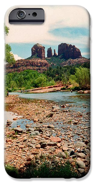 Cathedral Rock iPhone Cases - Oak Creek and Cathedral Rock 1993 iPhone Case by Connie Fox