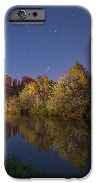 Oak Creek iPhone Cases - Oak creek at night iPhone Case by Christian Heeb