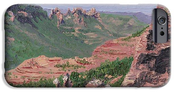 Oak Creek Paintings iPhone Cases - Oak Creek Canyon Vista iPhone Case by Ember Canada