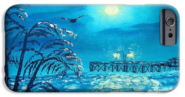 Sea Moon Full Moon Paintings iPhone Cases - Oak Island Pier iPhone Case by Margaret G Calenda