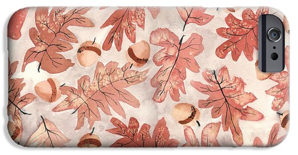 Fallen Leaf iPhone Cases - Oak Leaves and Acorns iPhone Case by Neela Pushparaj