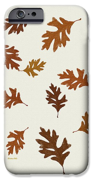 Snake iPhone Cases - Oak Leaves Art iPhone Case by Christina Rollo