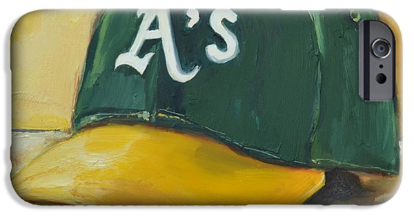 Baseball Art Paintings iPhone Cases - Oakland As iPhone Case by Lindsay Frost