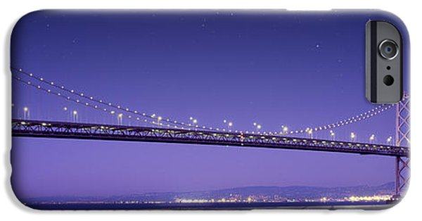 Beach Pyrography iPhone Cases - Oakland Bay Bridge iPhone Case by Aged Pixel