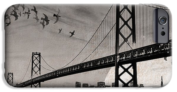 Bay Bridge Mixed Media iPhone Cases - Oakland Bay Bridge iPhone Case by Cori Pillows