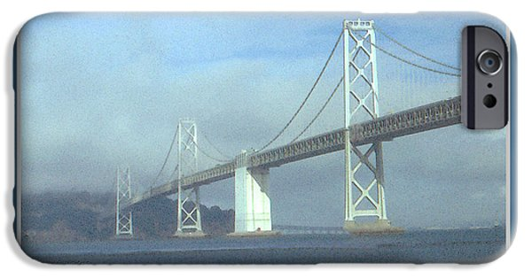 Suspension Drawings iPhone Cases - Oakland Bay Bridge - San Francisco Poster Art iPhone Case by Peter Fine Art Gallery  - Paintings Photos Digital Art