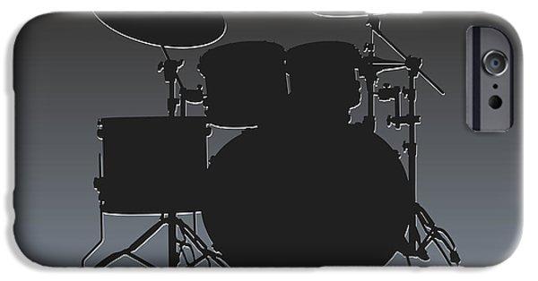 Drum Sets iPhone Cases - Oakland Raiders Drum Set iPhone Case by Joe Hamilton