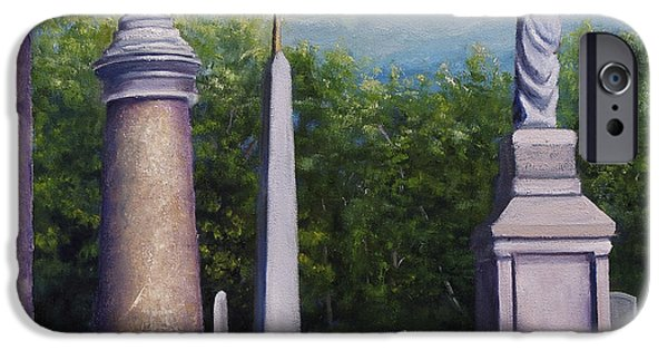 Headstones Paintings iPhone Cases - Oakwood Cemetery Jefferson Texas iPhone Case by Lenora  De Lude