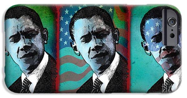 Obama iPhone Cases - Obama-1 iPhone Case by Chris Van Es