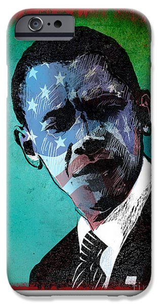 Obama iPhone Cases - Obama-4 iPhone Case by Chris Van Es