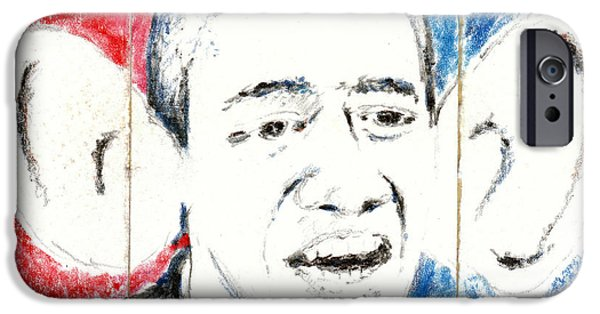 Barack Obama Mixed Media iPhone Cases - Obama Action Figure Triptych iPhone Case by Andrew Wilson