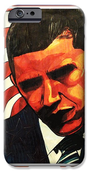 President Obama Drawings iPhone Cases - Obama iPhone Case by Boze Riley