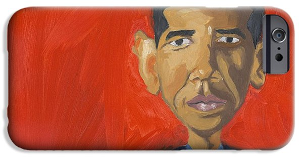 President Obama iPhone Cases - Obama Caricature iPhone Case by Isaac Walker