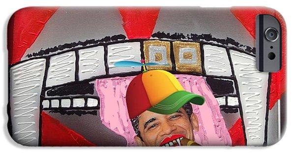 Obama Mixed Media iPhone Cases - President Eddie Munster Vampire Ganster Rapper  iPhone Case by Lisa Piper Menkin Stegeman