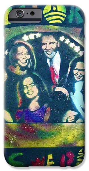 Michelle Obama Paintings iPhone Cases - Obama Family Victory iPhone Case by Tony B Conscious