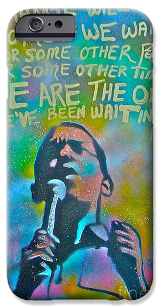 Michelle Obama Paintings iPhone Cases - Obama In Living Color iPhone Case by Tony B Conscious