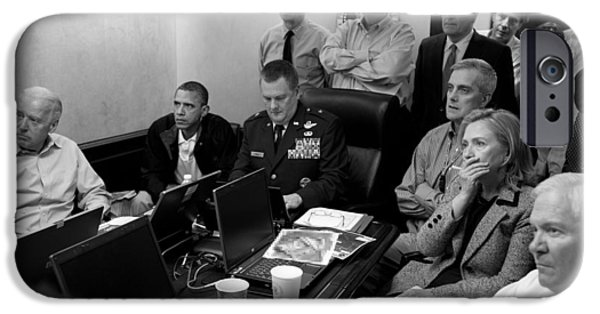 Obama iPhone Cases - Obama In White House Situation Room iPhone Case by War Is Hell Store