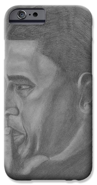 President Obama Drawings iPhone Cases - Obama iPhone Case by Irving Starr