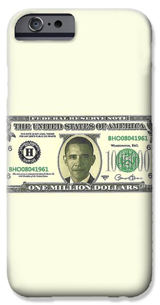 Obama Million Dollar Bill iPhone Case by Charles Robinson