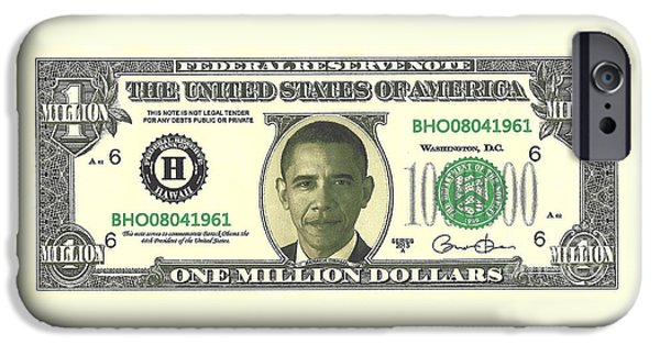 44th President iPhone Cases - Obama Million Dollar Bill iPhone Case by Charles Robinson