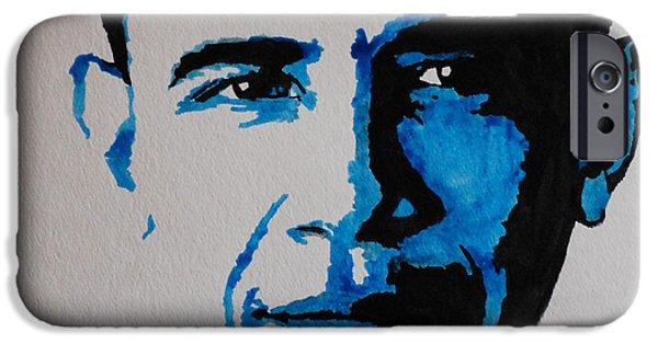 Barack Obama Mixed Media iPhone Cases - Obama. iPhone Case by Nancy Mergybrower