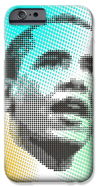 Obama iPhone Cases - Obama Over Coloured Dots iPhone Case by Rodolfo Vicente