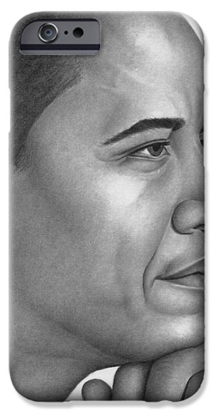 President Obama Drawings iPhone Cases - Obama iPhone Case by Ron Watson