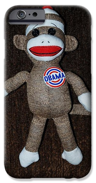 Potus iPhone Cases - Obama Sock Monkey iPhone Case by Rob Hans